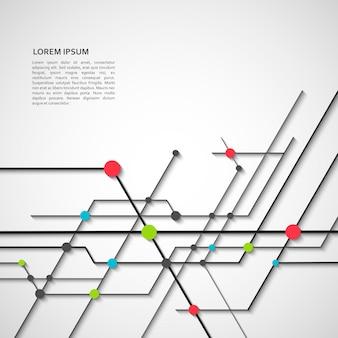 Концепция и аннотация цифровой сети с подключенными техническими линиями и точками