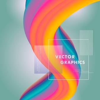 Форма волны жидкости в градиентном цветном фоне