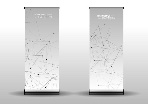 抽象的なカバーテンプレート接続されたラインとドットでモダンな幾何学的な背景