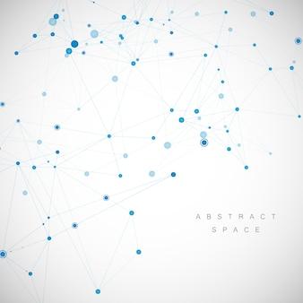 テクノロジーネットワークはポイントとラインで接続します。科学の創造的な背景