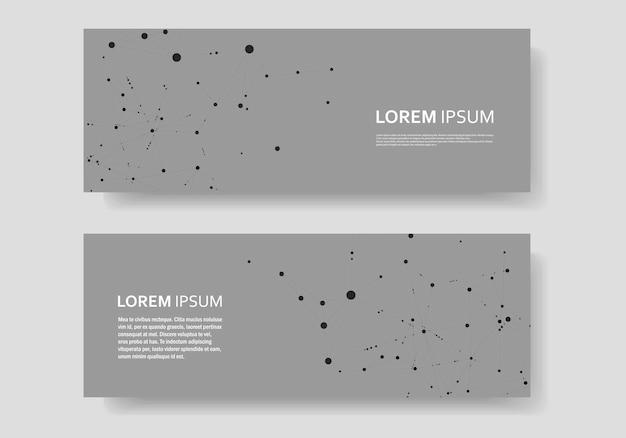 接続された直線と点と多角形の抽象的な背景。将来の世界プロジェクトのための技術を備えたモダンなカバーバナー