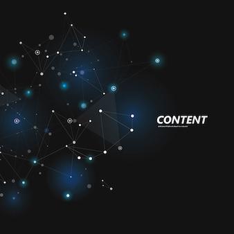 点と線を接続すると抽象的な多角形。接続科学の背景。