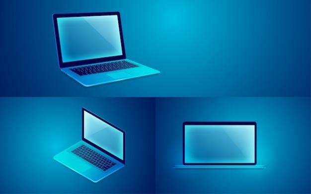 青のコンピューターのラップトップ