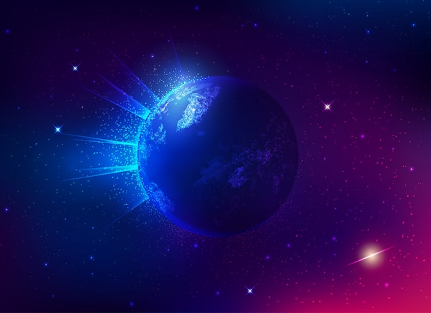 鮮やかな地球と宇宙銀河