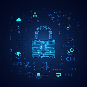 Концепция кибербезопасности, клавиатура в электронном виде с элементом цифровых технологий