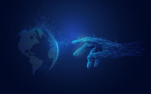 Коммуникационные технологии, цифровой глобус и рука