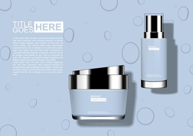 Бледно-голубой косметический набор с каплями воды фон