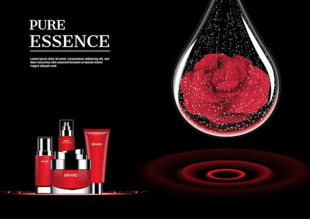 Красный косметический набор и капли воды