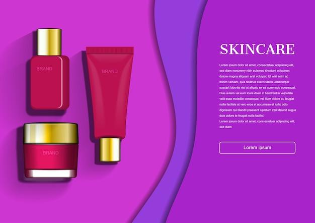 Красное и золотое средство для ухода за кожей на фиолетовом фоне
