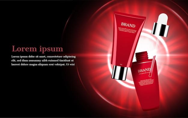 抽象的な白熱灯と赤い化粧品セット