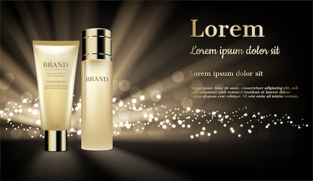 輝く光とキラキラとゴールドの化粧品