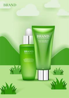 Косметический набор на лугах с рекламой зеленых гор