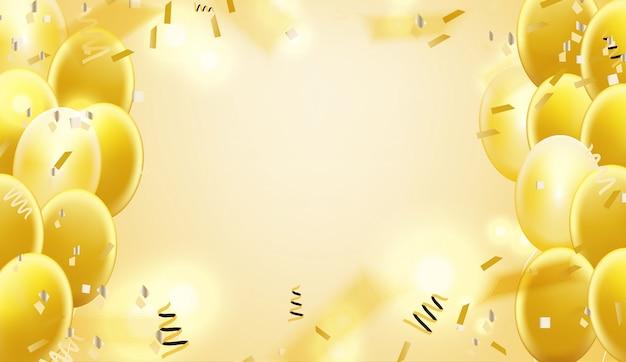 紙吹雪と金色の風船の背景