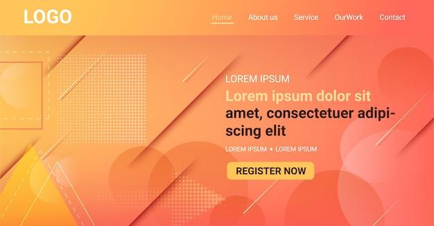 ウェブサイトのバナー、色あせた幾何学的図形の抽象的な背景とオレンジのグラデーション