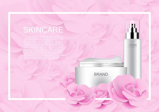 ローズの背景にピンクのバラの化粧品セット