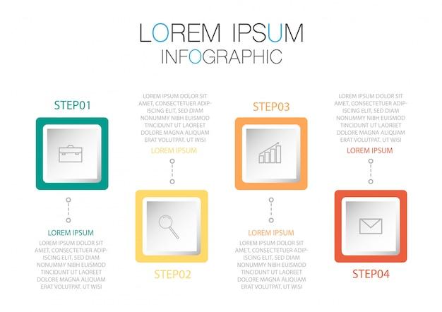 Инфографический шаблон в четыре этапа