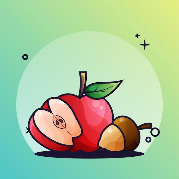 Яблоко и желудь