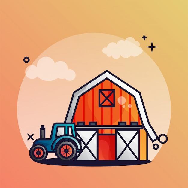 庭の小屋とトラクター