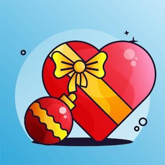 Подарок красный градиент лампа украшение рождество иллюстрация