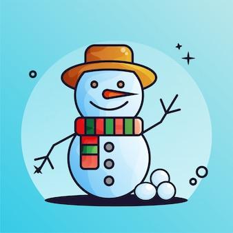帽子とスレイヤーのイラストと雪だるま冬