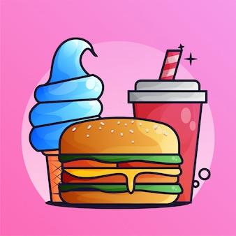 ハンバーガーとミルクグラデーション図とドリンク