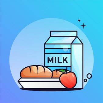朝食のミルクとパンのグラデーション図