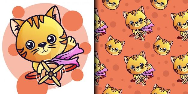 パイロット猫のシームレスパターン