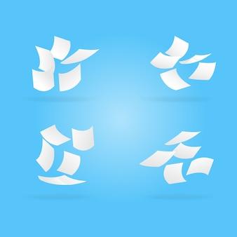 Векторные белые документы, летящие на голубое небо.