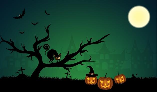 Тыквы хэллоуина с летучей мышью и фоном луны