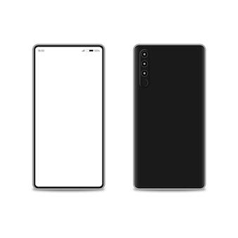Современный мобильный смартфон с тонкими краями. передний и задний вид смартфона.