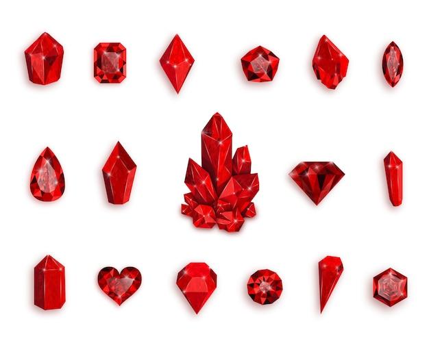 赤い宝石のセット。ルビーのイラスト。