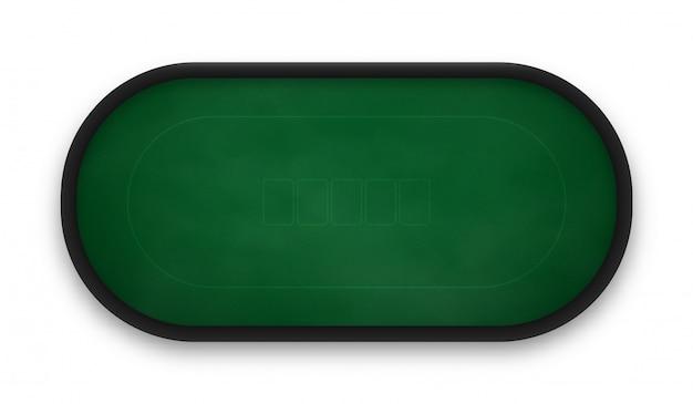 白い背景に分離された緑の布で作られたポーカーテーブル。
