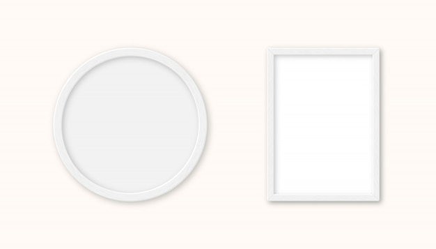 分離された現実的なセット白い木製額縁