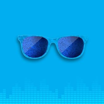 音楽イコライザの背景に青の現実的なメガネ。
