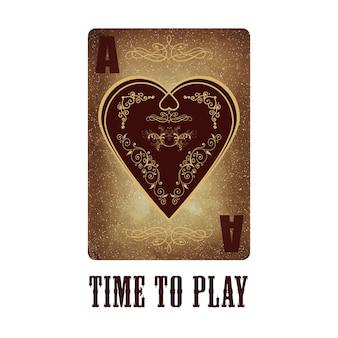 Туз сердец. игральная карта. старая бумага и винтажный стиль