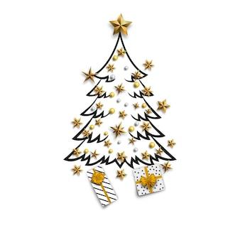 ゴールドスターとクリスマスツリー
