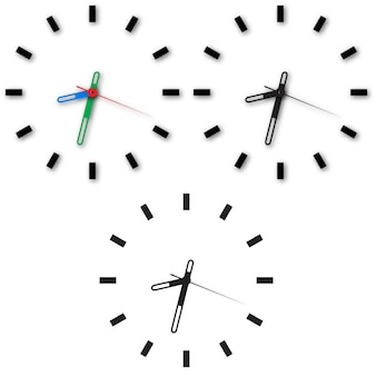 白い背景に時計のアイコンのセット。
