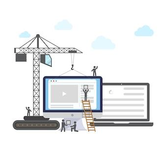 建設中のウェブサイトのフラットデザイン。
