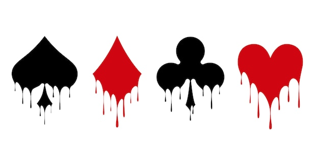 ポーカーやカジノをプレイするためのカードのシンボルデッキ。
