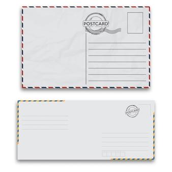 白い背景の上のシール付きメール封筒。