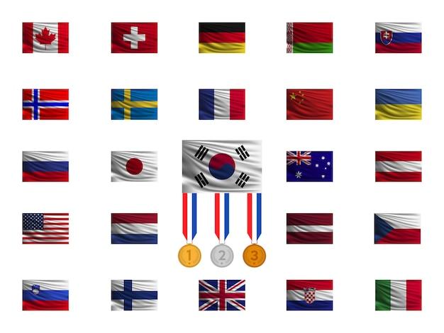 Национальные флаги на белом фоне.