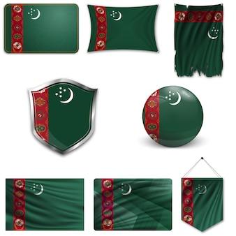 トルクメニスタンの国旗のセット