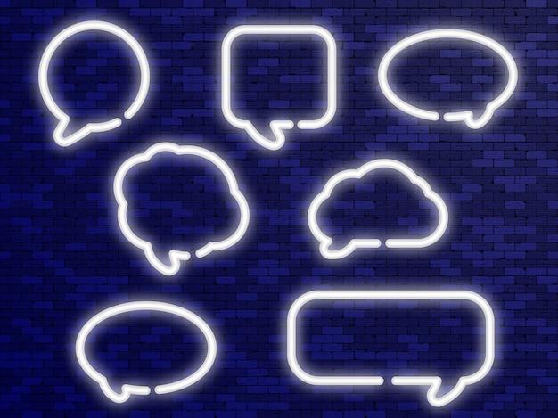 Неоновые белые речевые пузыри