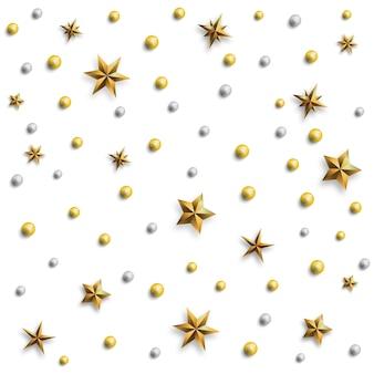 Праздничный узор из золотых звезд и жемчуга