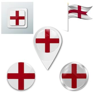 Набор иконок национального флага англии