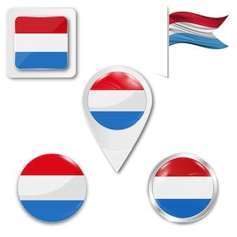 Набор иконок национального флага люксембурга