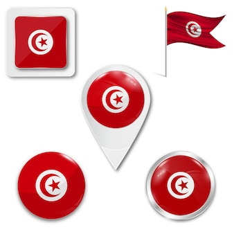Набор иконок национального флага туниса