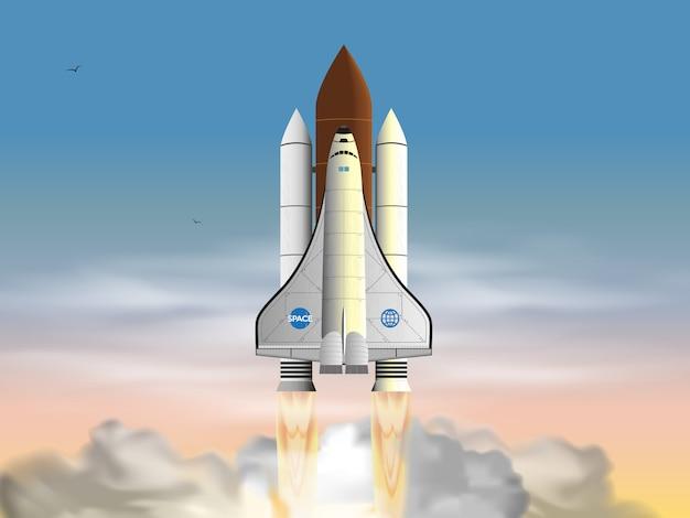 Запуск космического корабля в облаках.