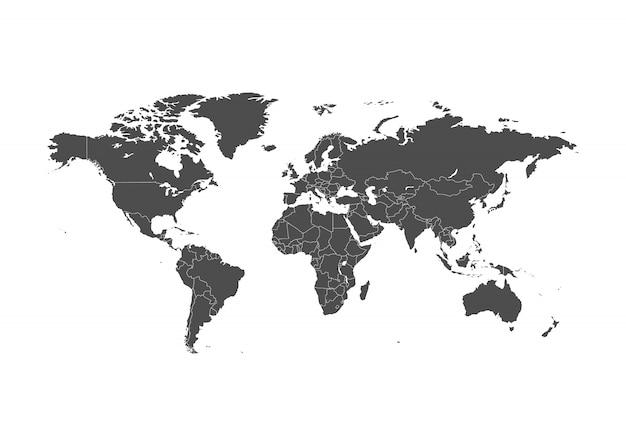 罫線付きの世界地図イラスト。