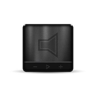黒い四角の携帯用無線スピーカー